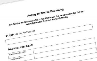 Formular für Anmeldung zur Not-Kinderbetreuung