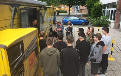 Bau-Bus Besuch an der Gesamtschule Oelde